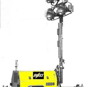 8KW Boss Oilfield Industry Light Tower - 8kw/4-Light   Metal Halide - 24hr. Extended Run