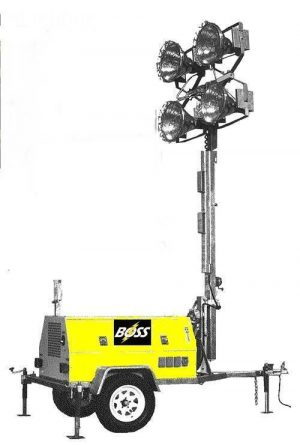 8KW Boss Oilfield Industry Light Tower - 8kw/4-Light   Metal Halide - 24hr. Extended Run