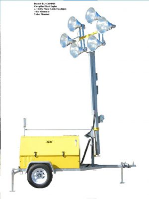 SIX LIGHT Electric Powered  Metal Halide Light Tower Package.