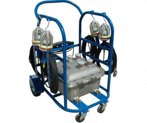 FOUR EXPLOSION PROOF HANDLAMPS WITH FOUR OUTLET LOW VOLTAGE LIGHTING EXPLOSION PROOF RATED TRANSFORMER CART MOUNTED