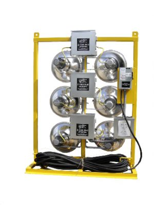 480 VOLT-6 LIGHT ELECTRIC CAGE MOUNTED FLOODLIGHTS