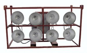 480 VOLT- 8 LIGHT ELECTRIC CAGE MOUNTED FLOODLIGHTS
